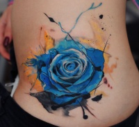 Blue rose watercolor tattoo by dopeindulgence