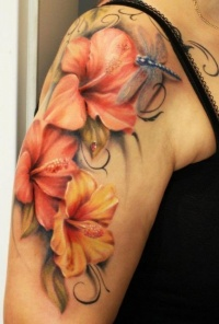Color tattoo flowers