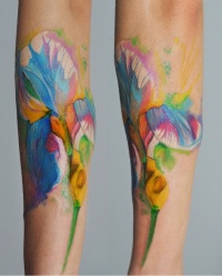 Iris flower watercolor tattoo by dopeindulgence
