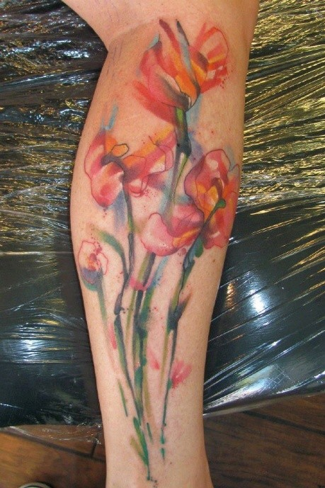 Tiger Watercolor Tattoo Watercolor Flowers Tattoo on